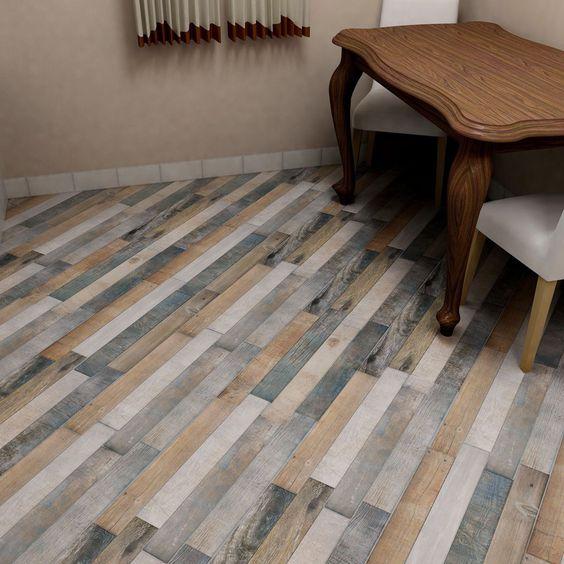 Gạch lát nền giả gỗ nhiều màu