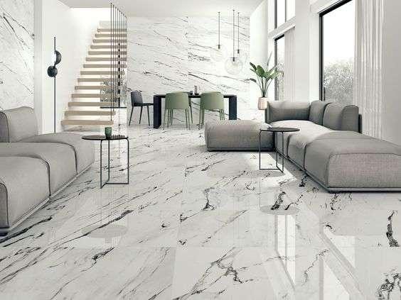 Gạch vân đá marble lát nền phòng khách