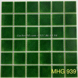 Gạch mosaic men rạn xanh lá cây