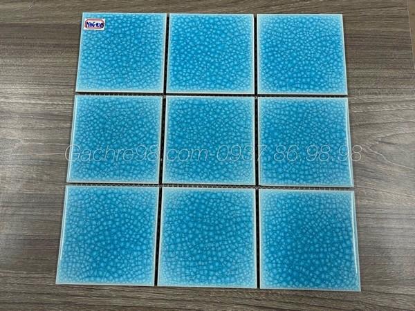 Mosaic men rạn 10x10 màu xanh