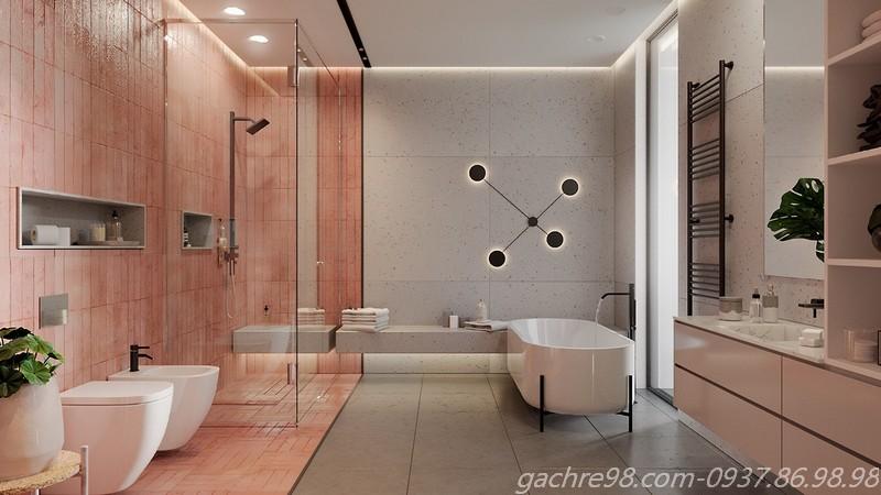 Gạch thẻ màu hồng ốp tường phòng tắm