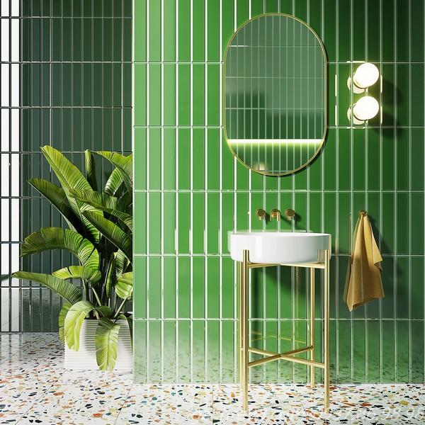 Gạch thẻ màu xanh lá cây ốp tường trang trí toilet