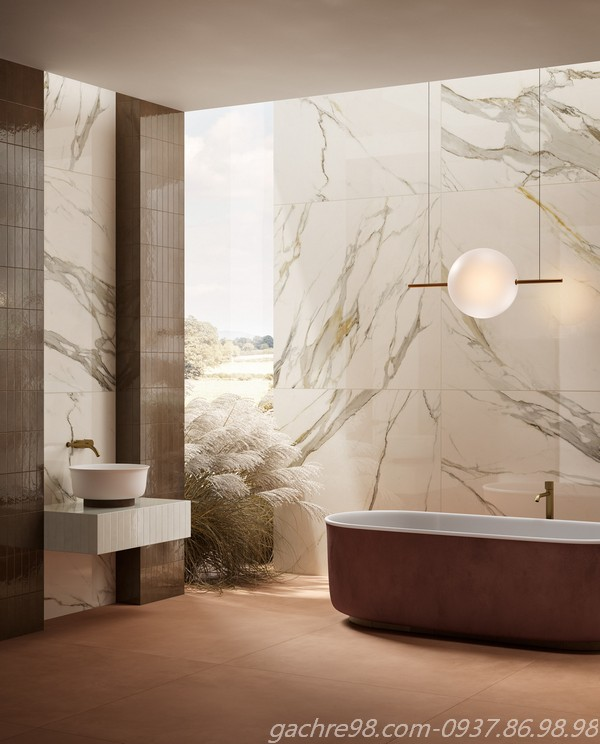 Gạch thẻ ốp kết hợp với gạch giả đá marble