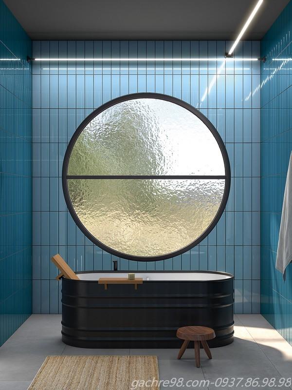 Gạch thẻ ốp tường màu xanh lam cho phòng tắm