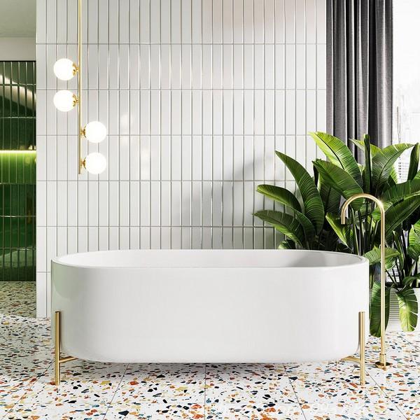 Gạch thẻ subway màu trắng ốp tường trang trí phòng tắm kết hợp gạch terrazzo